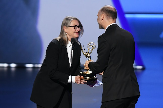 'Succession' creator Jesse Armstrong wins the Best Writing Emmy from guest star Cherry Jones