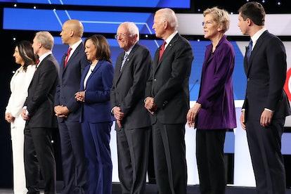 The Democratic candidates for the presidential election, from left to right: Tulsi Gabbard, Tom Steyer, Senator Cory Booker, Senator Kamala Harris, Senator Bernie Sanders, former Vice President Joe Biden, Senator Elizabeth Warren, Mayor Pete Buttigieg