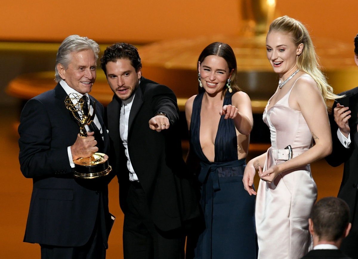 Sophie Turner joins the Game of Thrones cast on-stage on the 2019 Emmys.