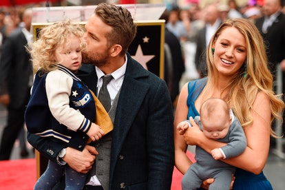 Ryan Reynolds with daughter James, wife Blake Lively, and baby Inez in April 2018 at the Hollywood W...