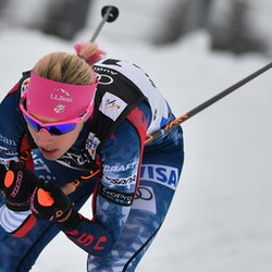 Olympic skier Kikkan Randall skiing. Randall is running the New York City marathon after finishing treatment for breast cancer