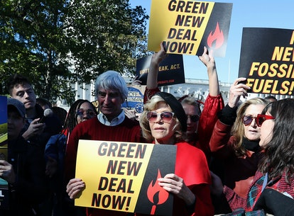 "Jane Fonda and Sam Waterston were arrested while championing a Green New Deal during an Oct. 18 ""Fire Drill Fridays"" climate change protest in Washington, D.C."