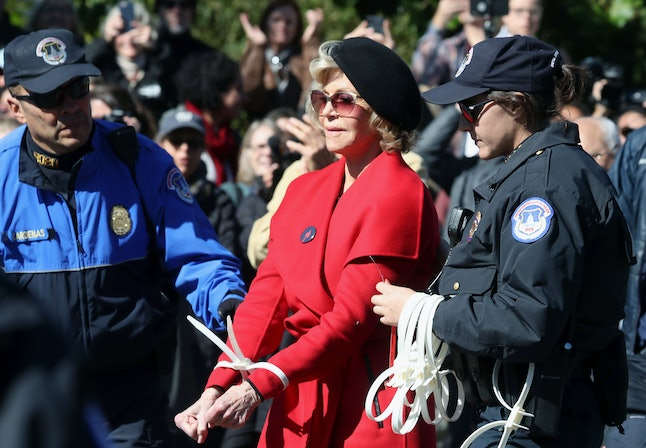 """Jane Fonda was arrested for the second week in a row during an Oct. 18 """"Fire Drill Fridays"""" climate change protest in Washington, D.C."""