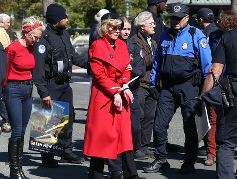 "Jane Fonda was arrested for the second week in a row during an Oct. 18 ""Fire Drill Fridays"" climate change protest in Washington, D.C."