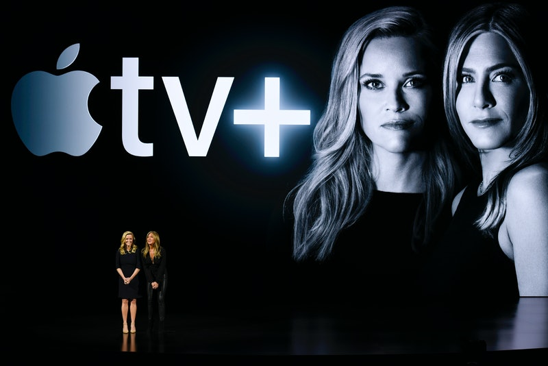 An Apple TV+ promotional still featuring Reese Witherspoon and Jennifer Aniston.