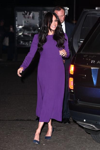 Meghan Markle rewore her purple Aritzia dress from January.