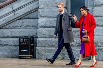 Meghan Markle first wore the Aritzia Babyton purple dress in Birkenhead in January 2019