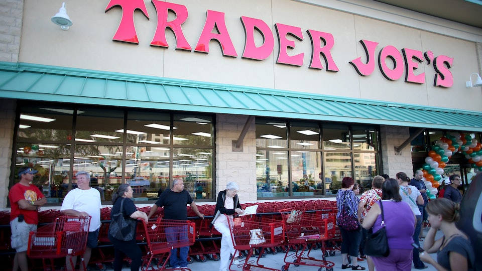 The outside of a Trader Joe's store with people walking around