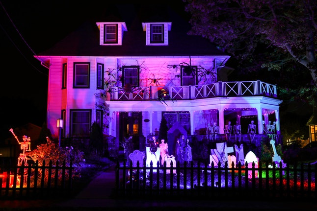 A house all decked out for Halloween. If you're sober on Halloween, you can still have an excellent time, experts say.