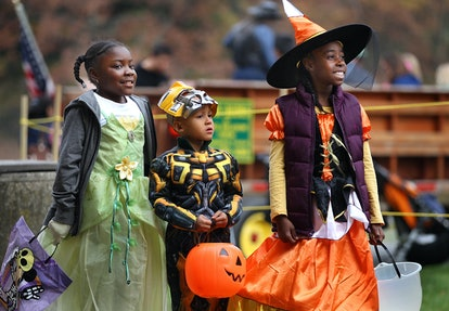 Three children dressed up for Halloween and ready to trick-or-treat. There are plenty of ways to celebrate Halloween without alcohol, ranging from holiday-themed mocktails to partying it up with your sober friends.