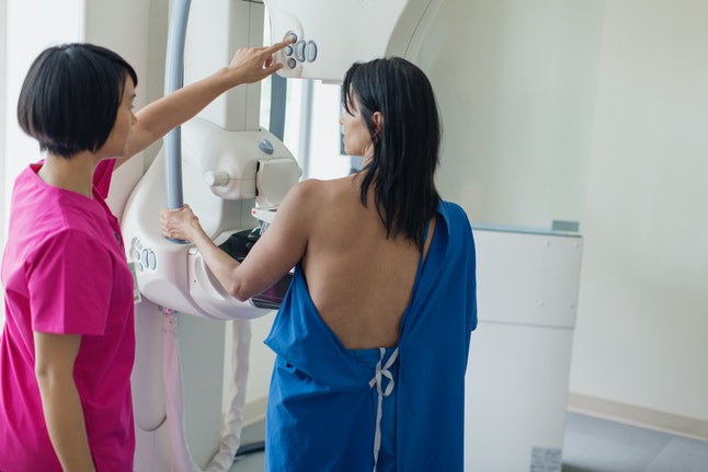 A person gets a mammogram to check for breast cancers, including Stage IV or metastatic breast cancer