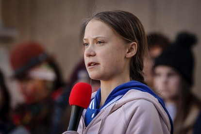 Greta Thunberg urges people in power to take action.