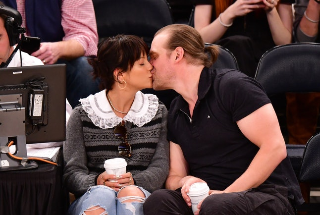 David Harbour and Lily Allen showed off some PDA at the Knicks game in mid-October.