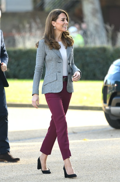 Kate Middleton's blazer and burgundy trousers are perfect winter workwear.