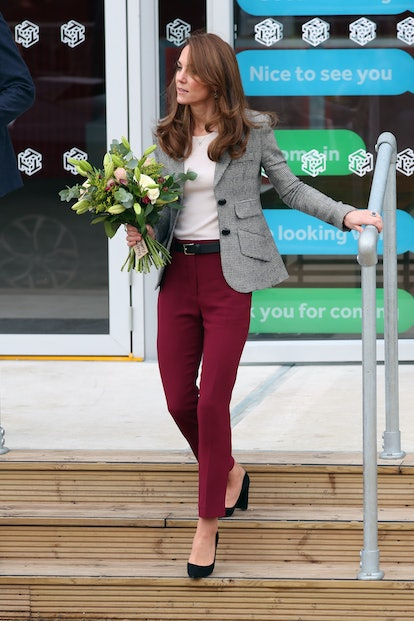 Copying Kate Middleton's style is simple with this blazer and trouser combination.