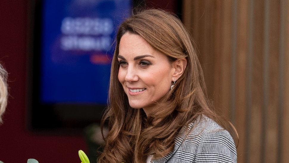 Kate Middleton's burgundy pants and plaid blazer are workwear staples.
