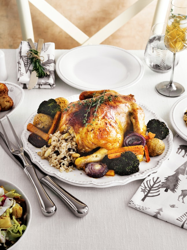 Thanksgiving turkey on a festive table. Self-care is important for people who are going to be sober for Thanksgiving.