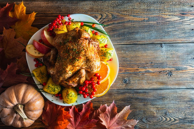 A Thanksgiving turkey on an autumnal table setting. People planning for a sober Thanksgiving should have strategies in place to help them deal with the day's pressures.