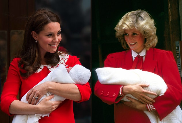 The red dress with a lace collar Kate Middleton wore after Prince Louis was born strongly resembled ...