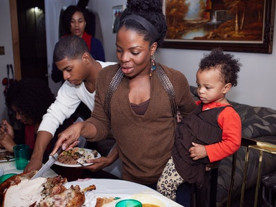 Experts say babies can enjoy turkey in small, chewable pieces during Thanksgiving dinner.