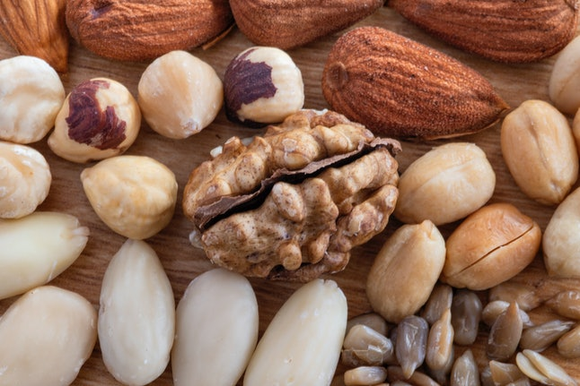 This collection of dry nuts showcases how many varieties you can consider donating to a food bank.