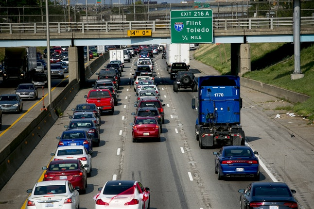 A Michigan highway with stalled cars. Transgender people in Michigan can now easily update their IDs to match their correct name and gender