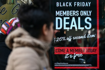 A sign shows Black Friday deals. Black Friday can have positive and negative affects on mental health, according to experts.