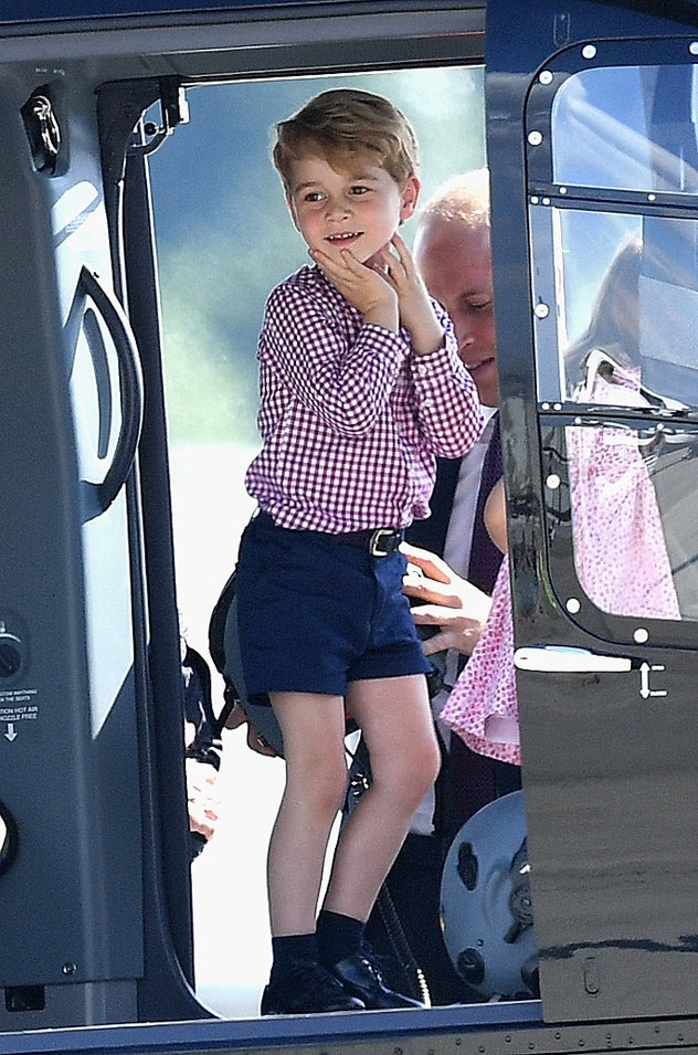 Prince George loved checking out a helicopter in Germany in 2017.