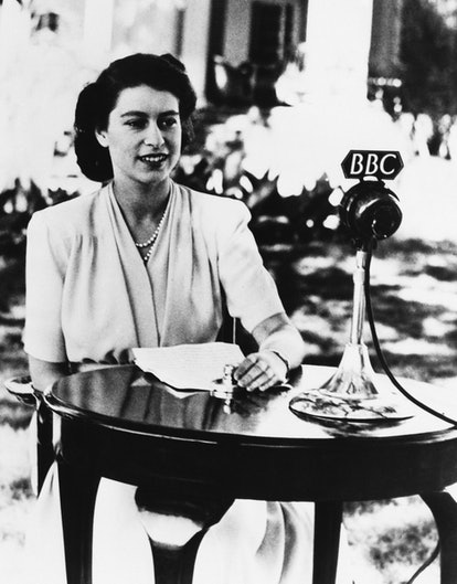 The real Queen Elizabeth II doing a radio broadcast in South Africa in 1947