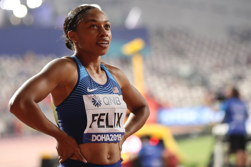 Track athlete Allyson Felix at the 2019 World Championships in Doha, Qatar. Felix negotiated a sponsorship contract with Athleta after she couldn't secure maternity protections from her previous sponsor.