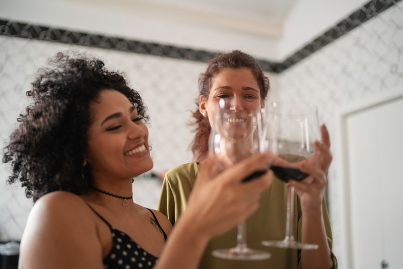 Two women toast each other with wine. Experts tell Bustle what you should know if your partner and your drinking habits are mismatched
