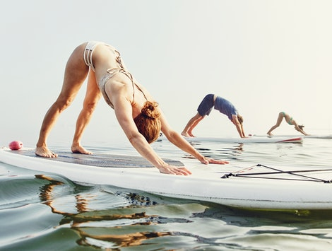 Three people in downward dog position on paddleboards. There were some amusing fitness fads in the past decade, including paddleboard yoga and the Shake Weight.