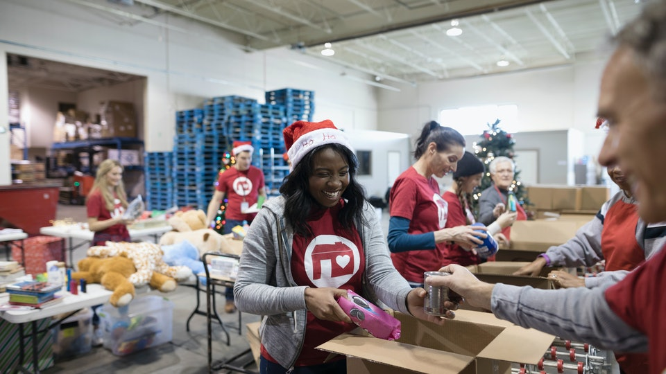 Christmas volunteers working on a gift drive