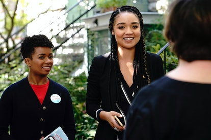 Kat Edison stands next to her campaign manager Tia Clayton. The Bold Type featured the first Black queer women characters to talk about their abortions on a TV show, according to report.