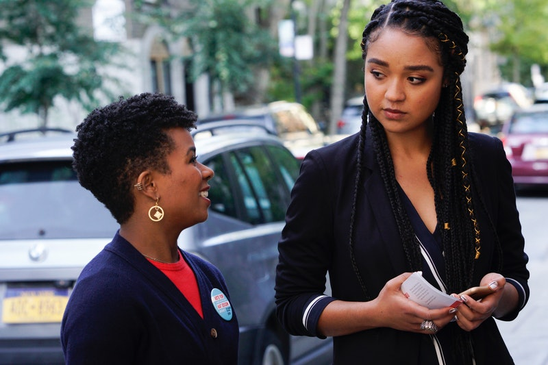 Kat Edison from The Bold Type engages in conversation with Tia Clayton, her campaign manager. Representation of abortion on TV is overwhelmingly white, according to report.
