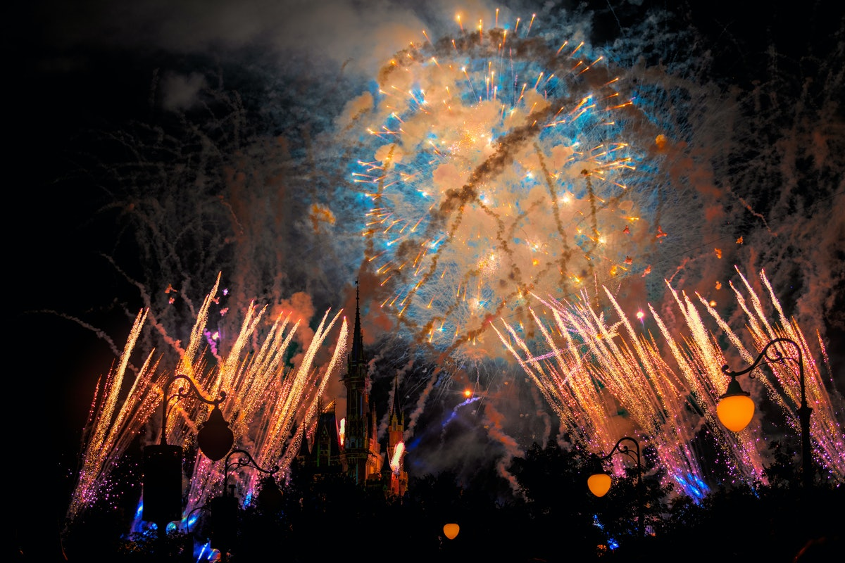 Colorful fireworks put on a show over Cinderella's Castle in Magic Kingdom.