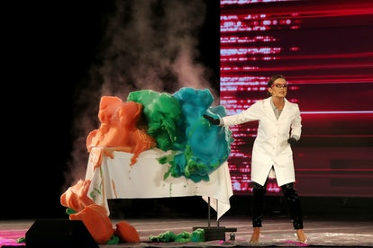 Miss Virginia Camille Schrier's talent for the Miss America 2020 competition involved performing colorful chemistry experiments in a lab coat.