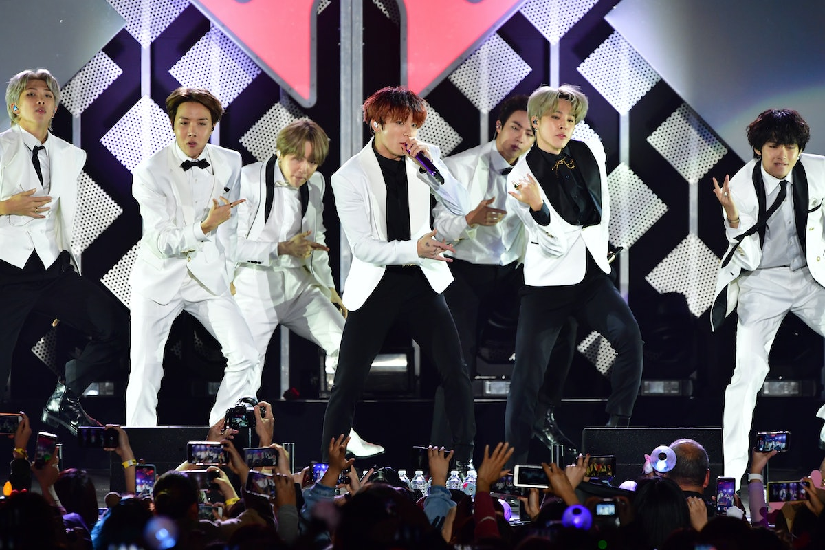 BTS Korean boy band performs on stage.