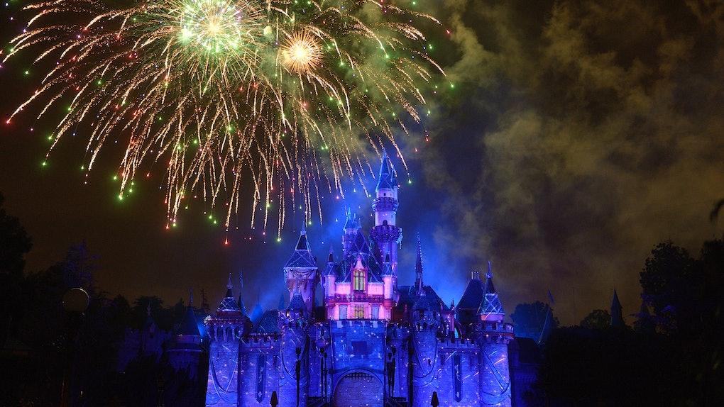 Fireworks explode over Disneyland's Sleeping Beauty Castle on New Year's Eve.