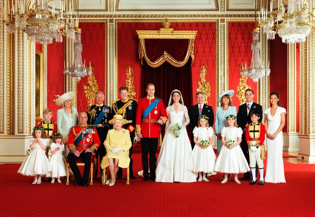 Prince William and Kate Middleton posed for their first official portrait as husband and wife during their wedding in 2011.