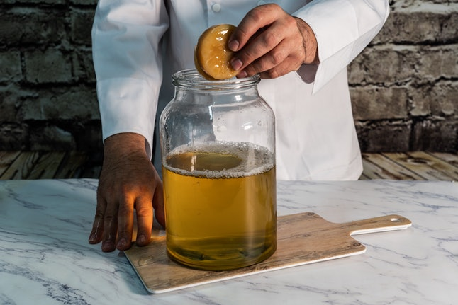 A kombucha maker places a SCOBY in a vial of kombucha. Kombucha and hard cider differ in many ways, though they may seem superficially similar.