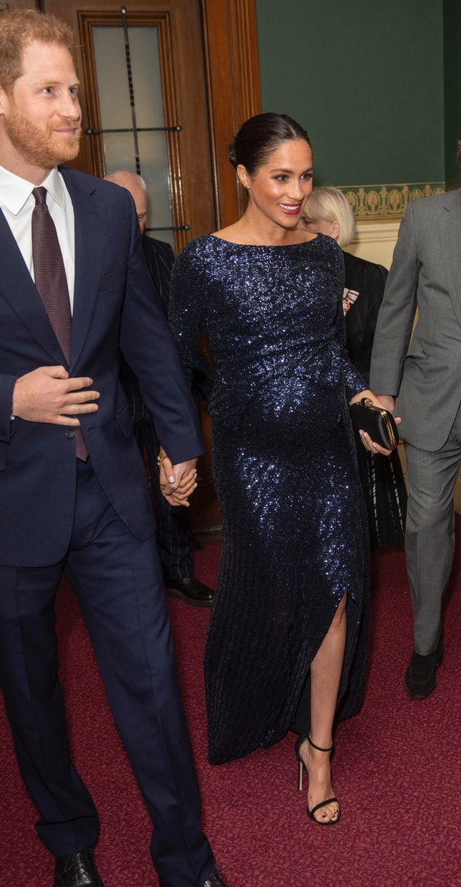 Meghan Markle's head to toe sequins were for a Sentebale fundraiser.