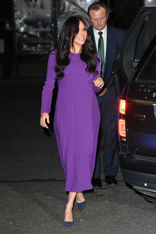 Meghan Markle rewore her purple Aritzia dress in 2019.