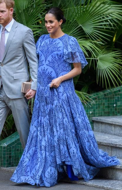 Meghan Markle's Carolina Herrera gown featured a blue botanical print.