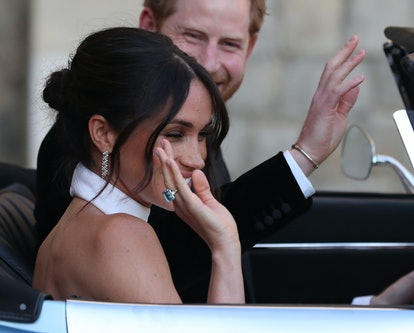 Meghan Markle's aquamarine ring was borrowed from Princess Diana's collection.