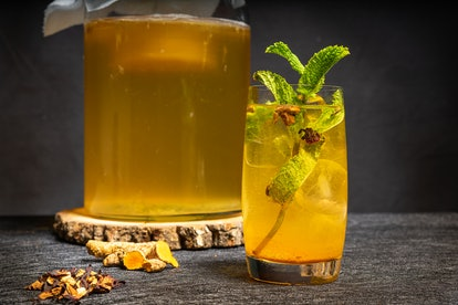 A kombucha drink. Kombucha can still carry small amounts of alcohol depending on its fermentation process.