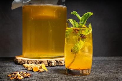 A kombucha drink. Kombucha can still carry small amounts of alcohol depending on its fermentation pr...