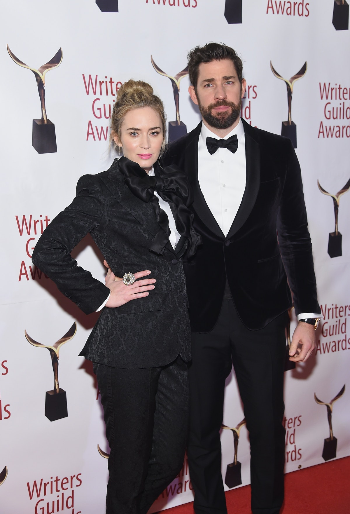 Emily Blunt & John Krasinski Wearing Matching Tuxedos At The 2019 Writers' Guild Awards Is The Most Adorable