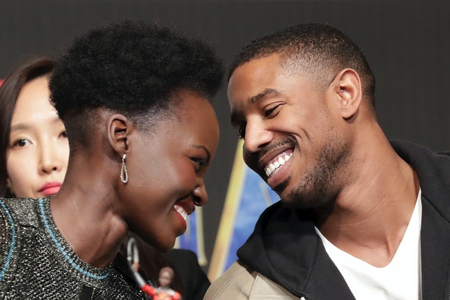 'Black Panther' co-stars Michael B. Jordan and Luptia N'yongo.