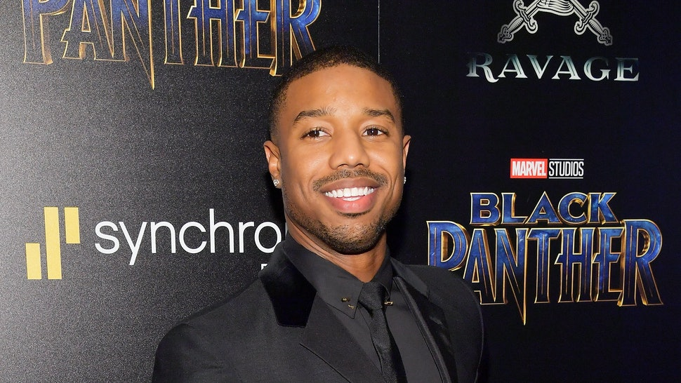 Michael B. Jordan on a red carpet.